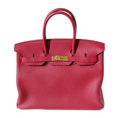 35cm Hermès Rubis Togo Leather Birkin Bag Handbag