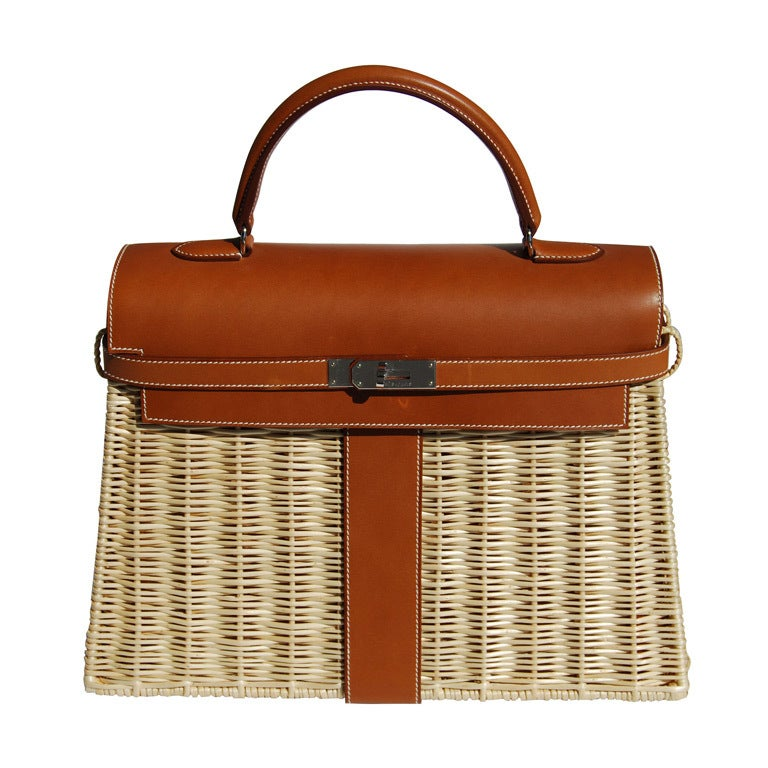 35cm Herm 232 S Barenia And Wicker Kelly Bag Handbag At 1stdibs