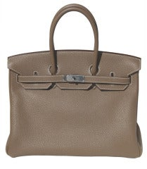 35cm Hermès Etoupe Clemence Leather Birkin Bag Handbag