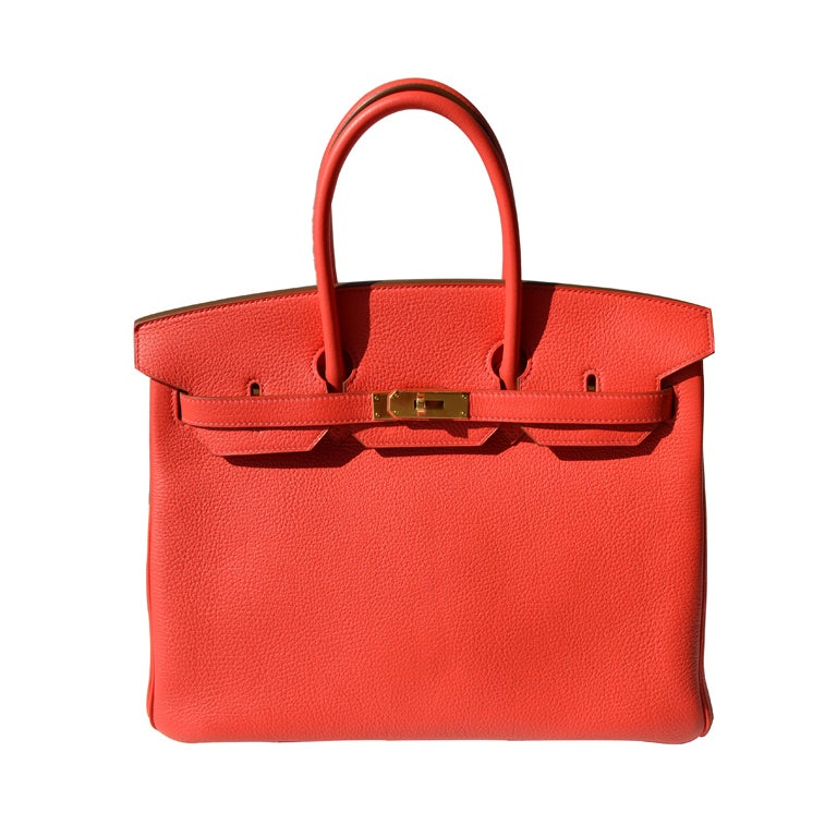 35cm Herm 232 S Rose Jaipur Togo Leather Birkin Bag Handbag At