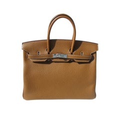 35cm Hermès Gold Taurillon Clemence Leather Birkin Bag Handbag