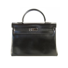 35cm Hermès So Black Box Leather Kelly Bag Handbag