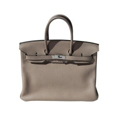 35cm Hermès Gris Tourterelle Clemence Leather Birkin Bag Handbag