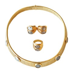Bulgari 5 Coin Gold Necklace, 2 Coin Earrings and Ring