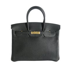35cm Hermès Black Togo Leather Birkin Bag Handbag