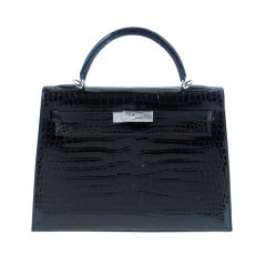 32cm Hermès Shiny Black Porosus Crocodile Kelly Bag Handbag
