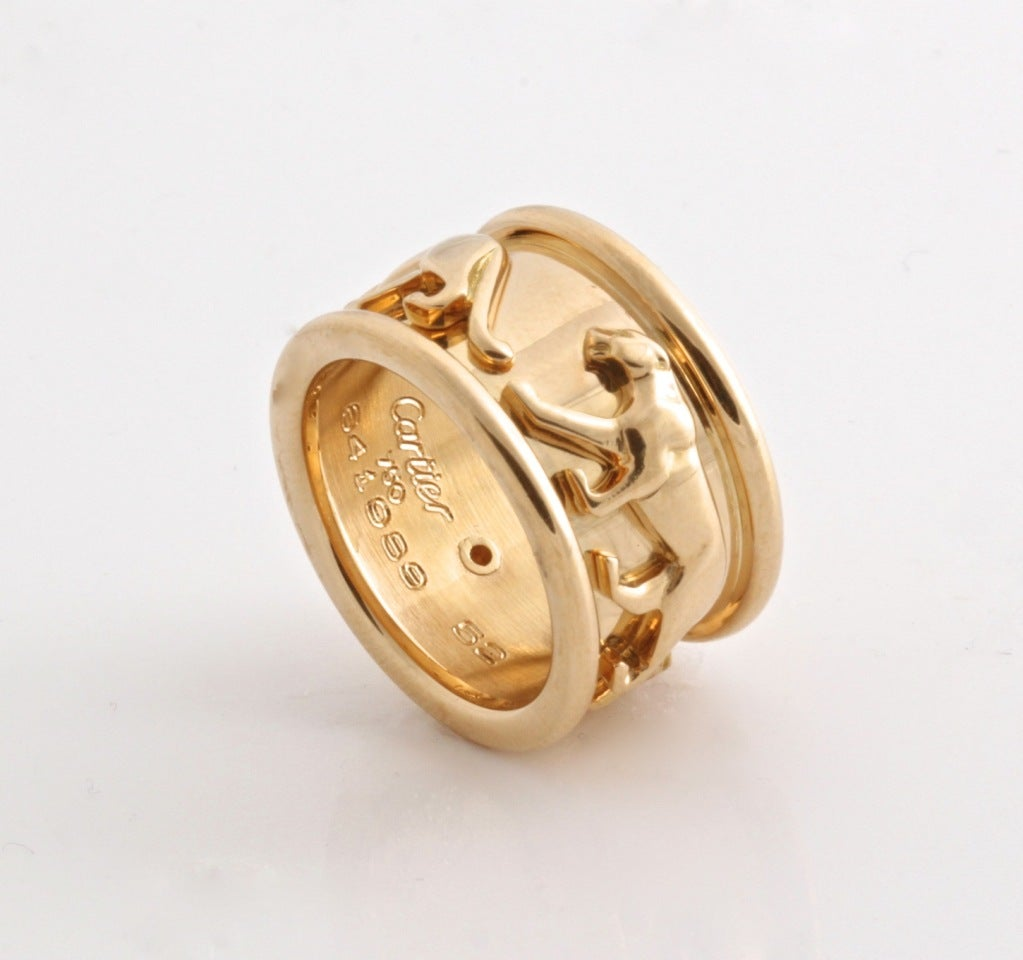 CARTIER Yellow Gold Panther Ring At 1stdibs