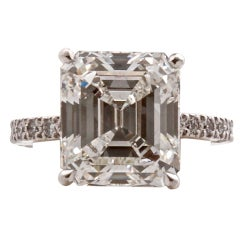 Fine Emerald Cut Diamond GIA H 7.09 Carat Ring