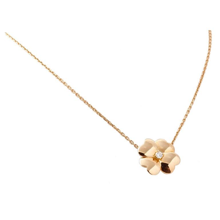 Clover Necklace Van Cleef: VAN CLEEF & ARPELS VCA 18k Yellow Gold & Diamond Clover