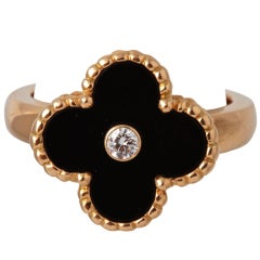 VAN CLEEF & ARPELS Diamond Gold Onyx  Ring