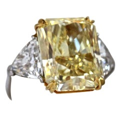 14.29 Fancy Yellow Diamond Platinum Gold Ring