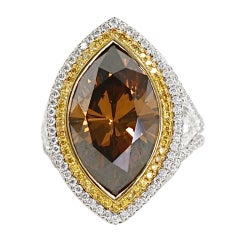 Orangey Brown Diamond Platinum Yellow Gold Ring