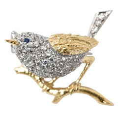 TIFFANY & CO. Diamond Sapphire Gold Bird Brooch
