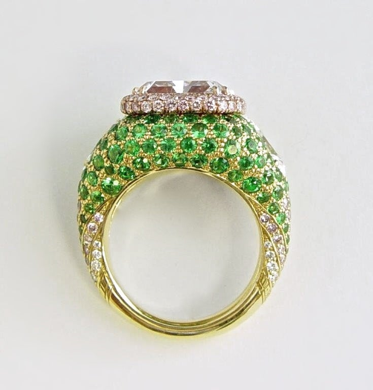 5 09 carat pink purple and emerald gold ring at