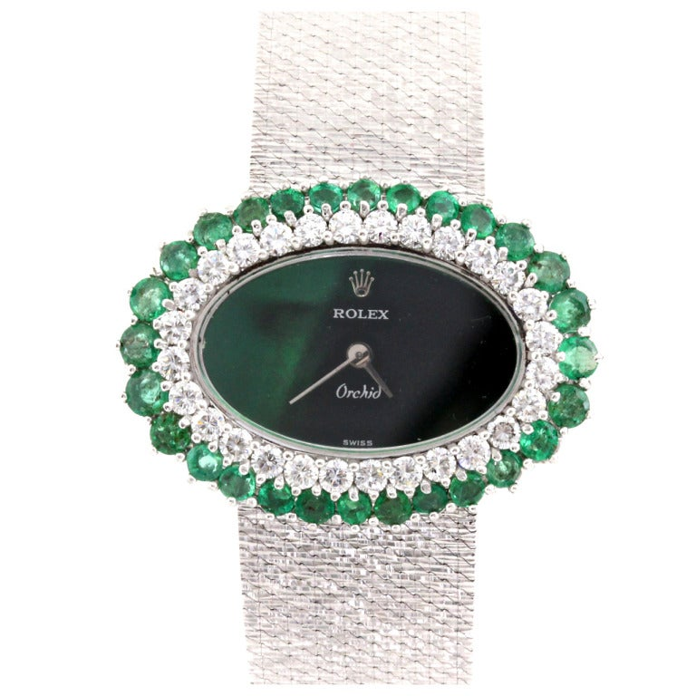 Rolex Lady's White Gold, Diamond and Emerald Bracelet ...