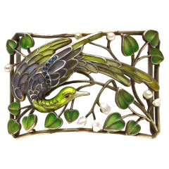 Art Nouveau Enamel Pearl Plaque de Cou Bird Necklace Levinger and Bissinger
