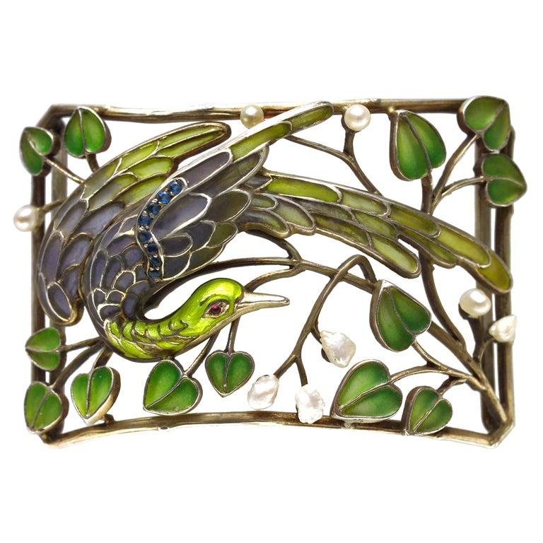 Art Nouveau Enamel Pearl Plaque de Cou Bird Necklace Levinger and Bissinger