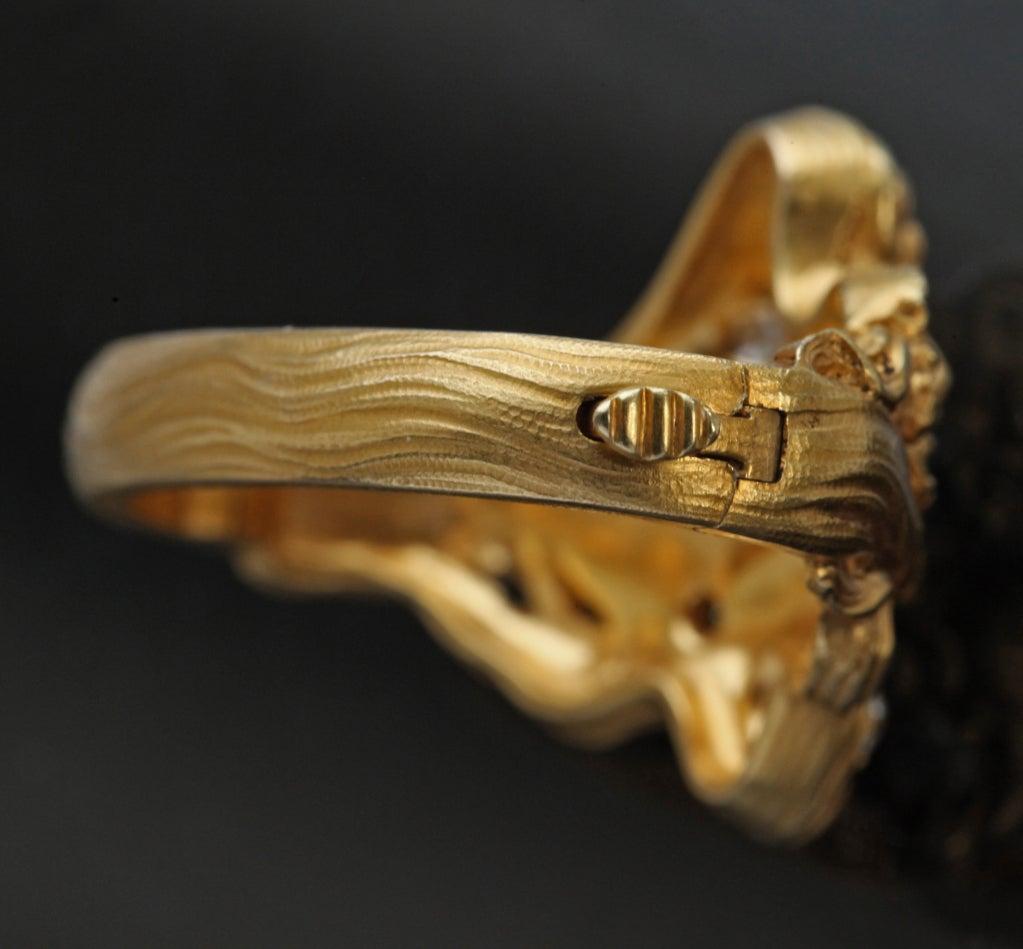 Plisson et Hartz Art Nouveau Diamond Gold Woman Flower Sculpture Scarf Ring 1