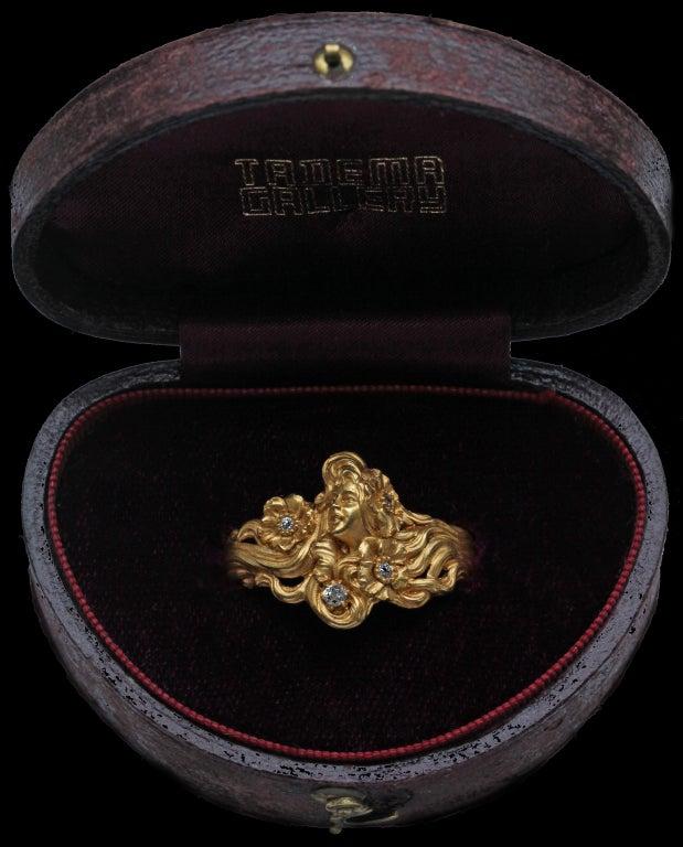 Plisson et Hartz Art Nouveau Diamond Gold Woman Flower Sculpture Scarf Ring 4