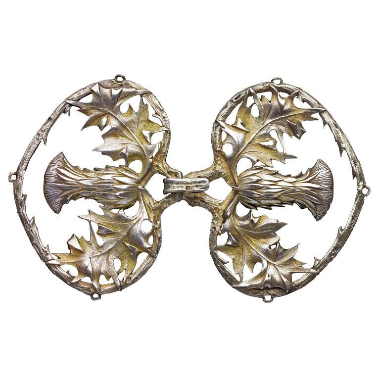 Henri Vever Art Nouveau Silver Thistle Cloak Clasp Designed by Ferdinand Erhart