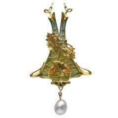 LÉOPOLD ALBERT MARIN GAUTRAIT 'Helianthus' Art Nouveau Pendant