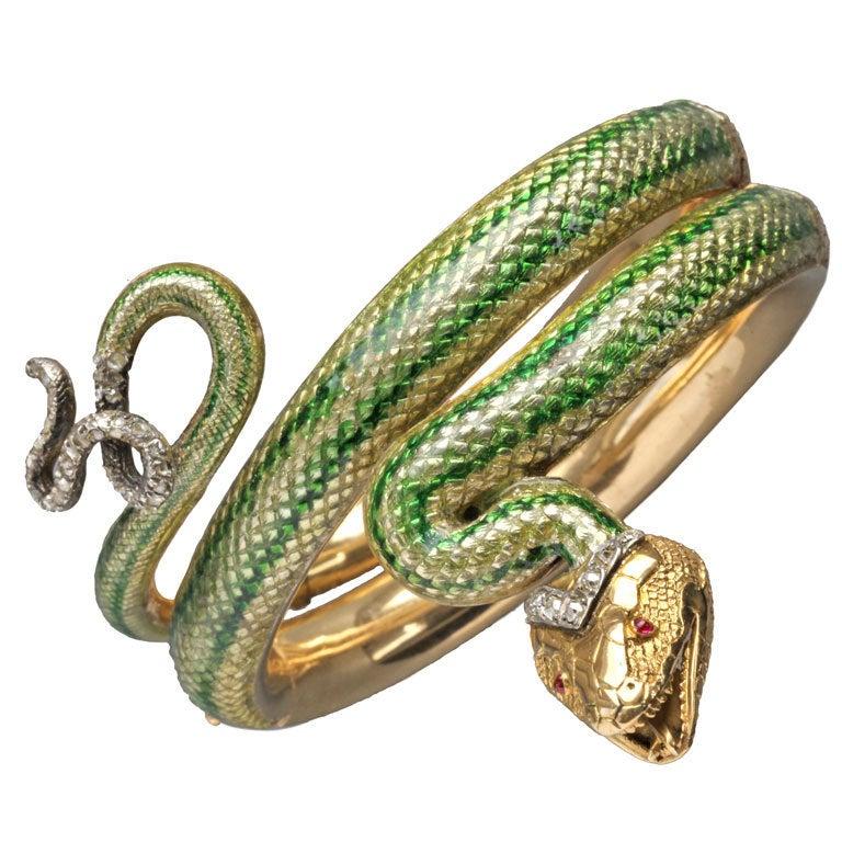 Enamel Ruby Diamond Gold Serpent Bangle French Second Empire 1
