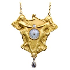 Art Nouveau A Dance to the Music of Time Diamond Gold Pendant Watch Necklace