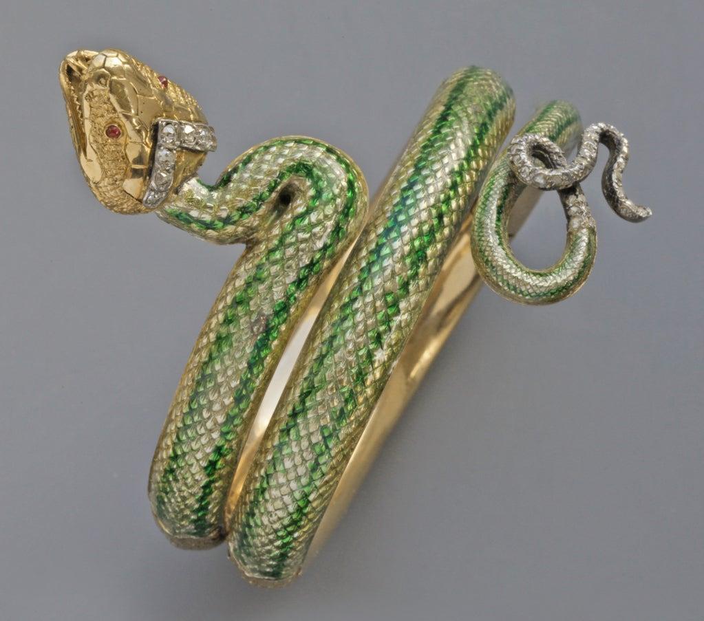 Enamel Ruby Diamond Gold Serpent Bangle French Second Empire 2