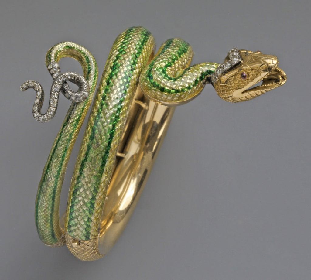 Enamel Ruby Diamond Gold Serpent Bangle French Second Empire 3