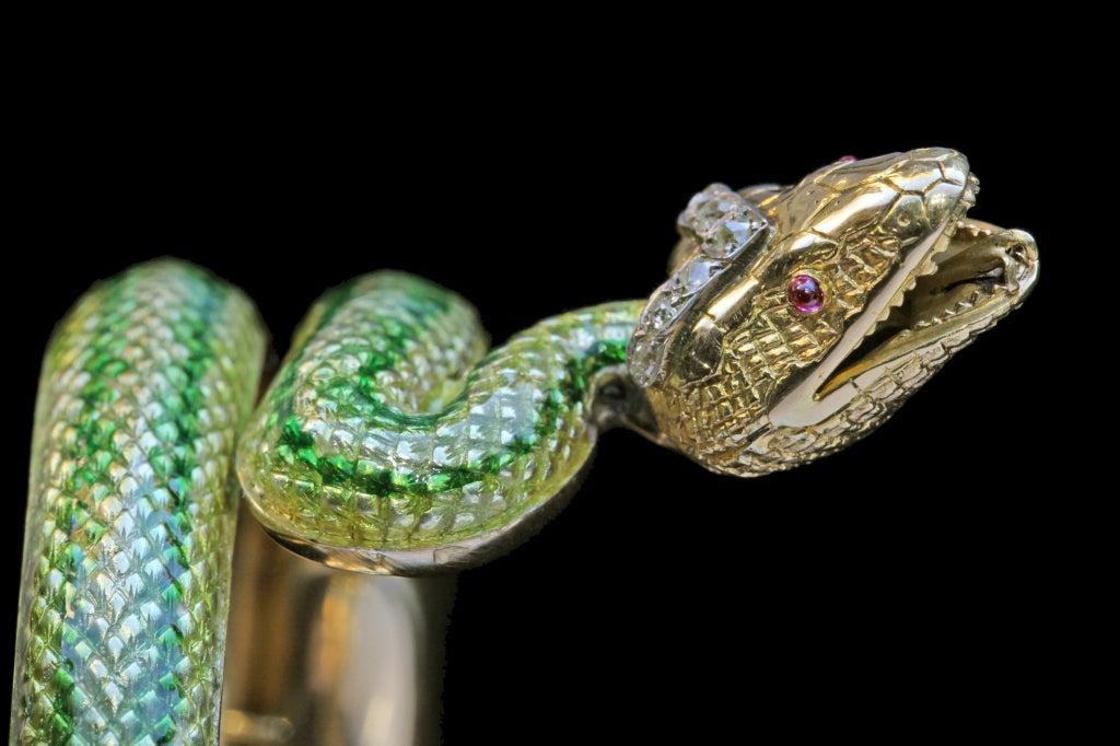 Enamel Ruby Diamond Gold Serpent Bangle French Second Empire 4