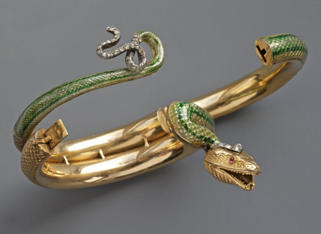 Enamel Ruby Diamond Gold Serpent Bangle French Second Empire 5
