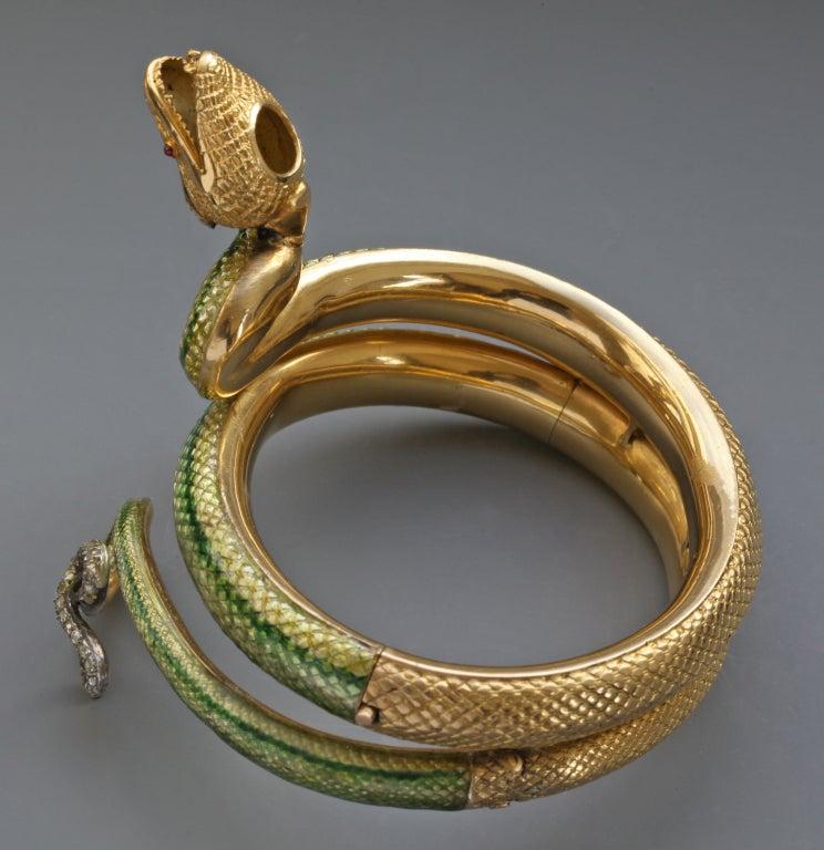 Enamel Ruby Diamond Gold Serpent Bangle French Second Empire 6
