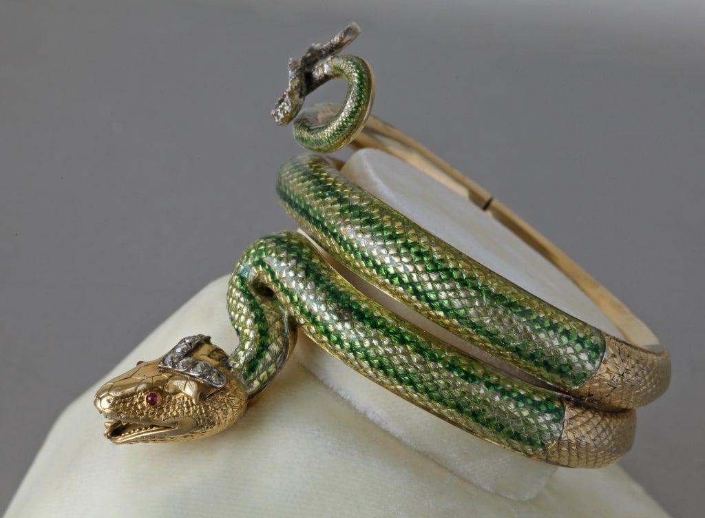 Enamel Ruby Diamond Gold Serpent Bangle French Second Empire 9