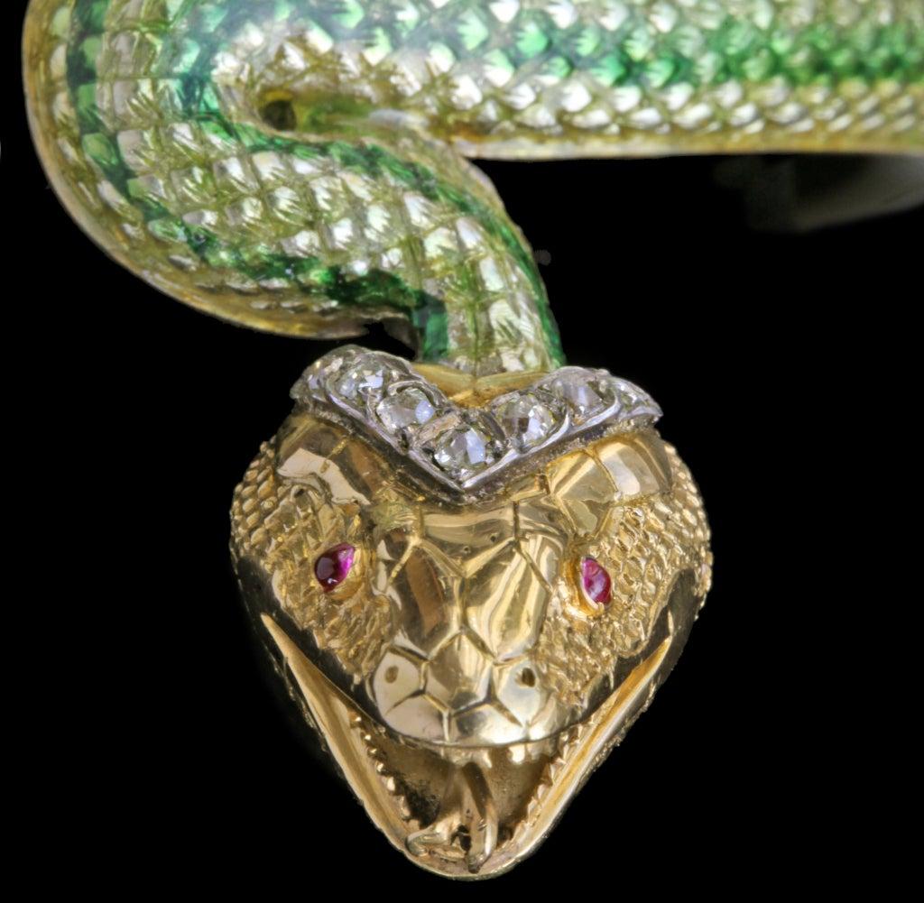 Enamel Ruby Diamond Gold Serpent Bangle French Second Empire 10