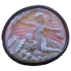 Karl and Maria Berthold Symbolist Cornucopia Venus Shell Silver Brooch