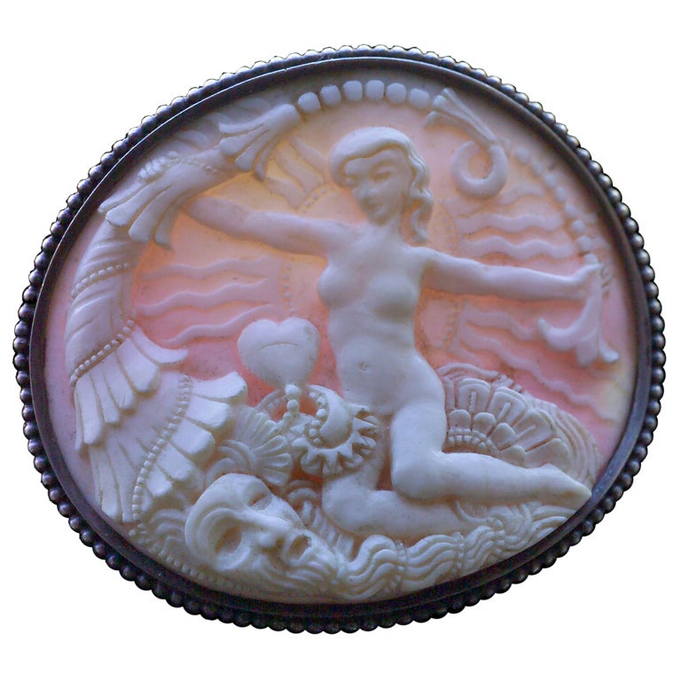 Karl and Maria Berthold Symbolist Cornucopia Venus Shell Silver Brooch For Sale