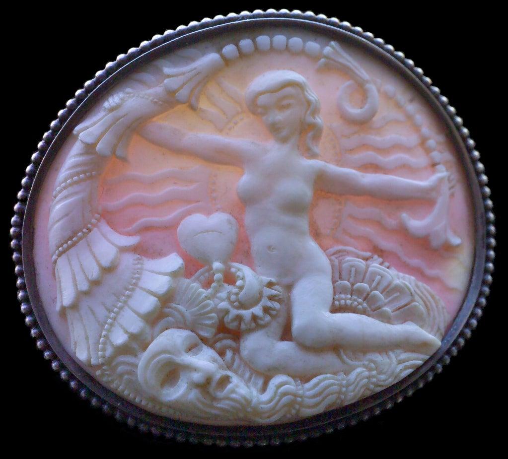 Women's Karl and Maria Berthold Symbolist Cornucopia Venus Shell Silver Brooch For Sale