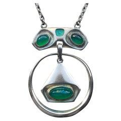 Joseph Maria Olbrich Rare Secessionist Silver Enamel Chalcedony Pendant Necklace