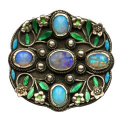 Arthur and Georgie Gaskin Rose Lattice Opal Enamel Silver Floral Brooch