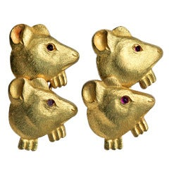 Charming Edwardian Mouse Gold Cufflinks