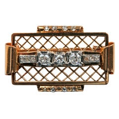 Jean DespréS Art Deco Diamond Gold Platinum Brooch