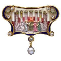 René Foy Art Nouveau The Vestal Virgins Brooch Pendant