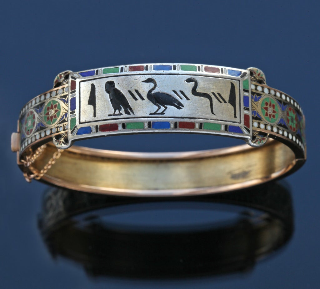 Emile-Désiré Philippe Early Egyptian Revival Gold Silver Enamel Hinged Bangle 2