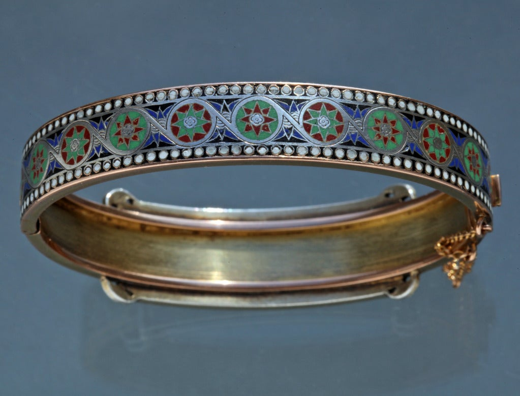 Emile-Désiré Philippe Early Egyptian Revival Gold Silver Enamel Hinged Bangle 3