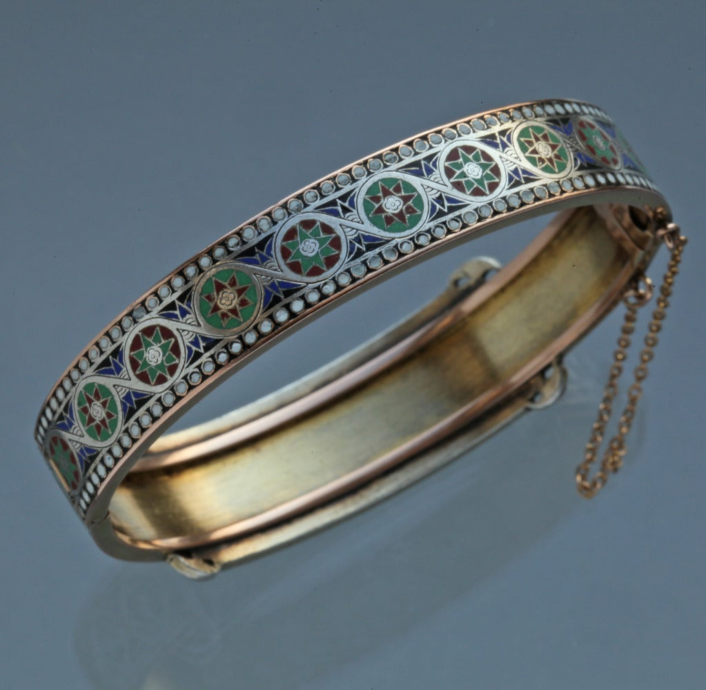 Emile-Désiré Philippe Early Egyptian Revival Gold Silver Enamel Hinged Bangle 4