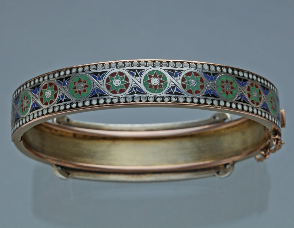 Emile-Désiré Philippe Early Egyptian Revival Gold Silver Enamel Hinged Bangle 5