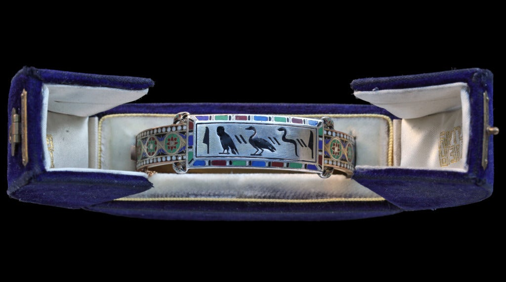 Emile-Désiré Philippe Early Egyptian Revival Gold Silver Enamel Hinged Bangle 6