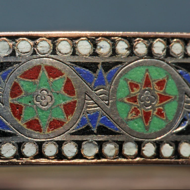 Emile-Désiré Philippe Early Egyptian Revival Gold Silver Enamel Hinged Bangle 7