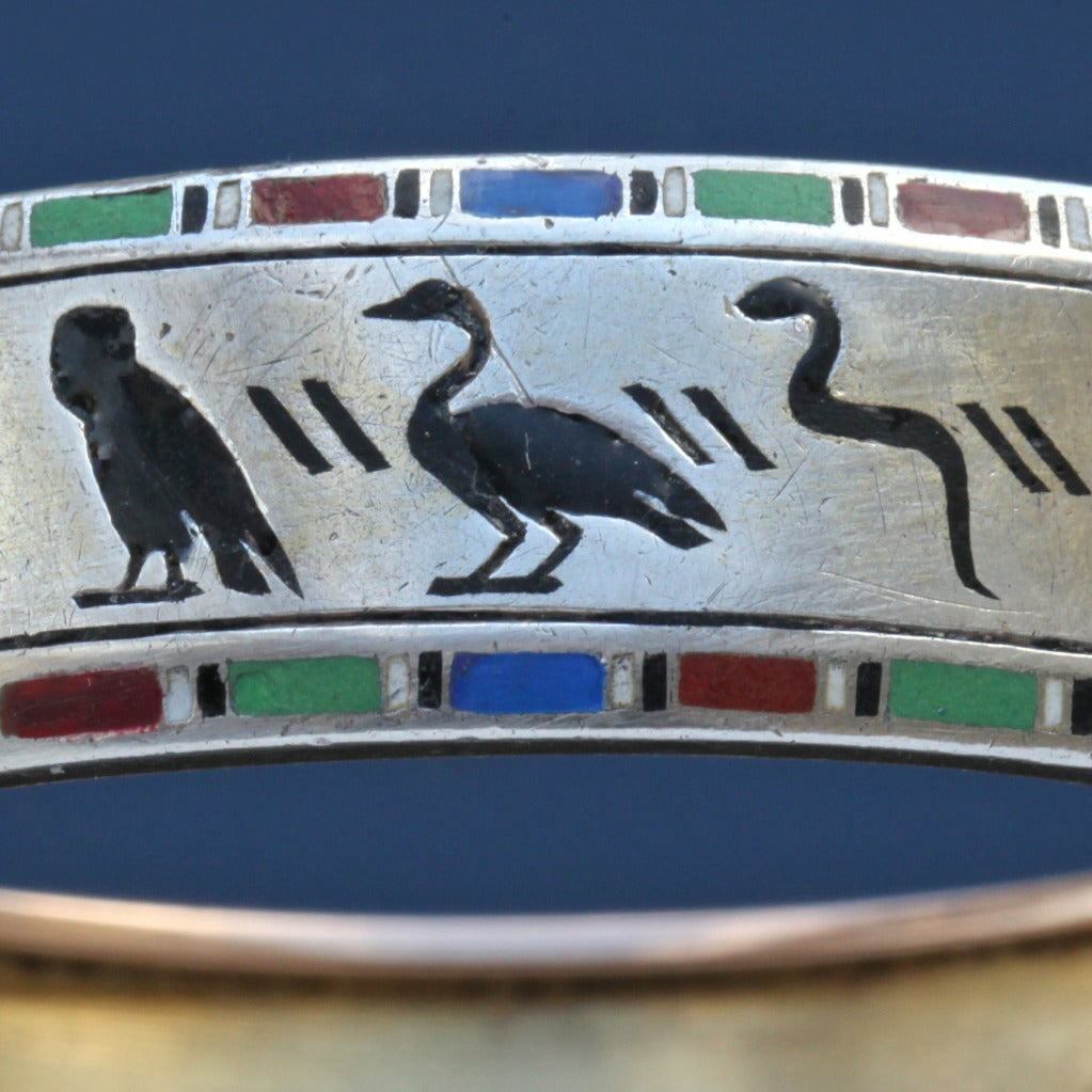 Emile-Désiré Philippe Early Egyptian Revival Gold Silver Enamel Hinged Bangle 9