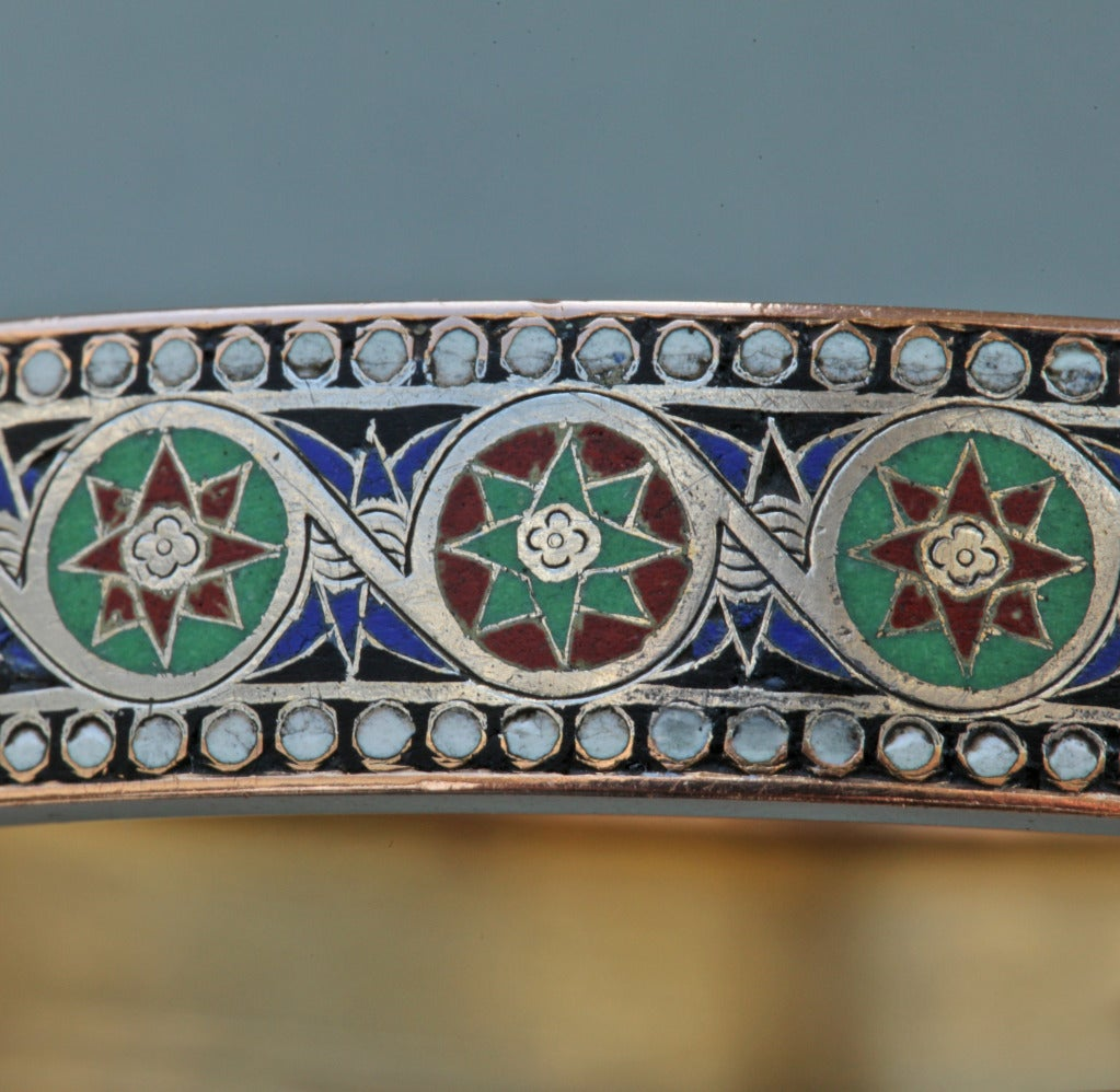Emile-Désiré Philippe Early Egyptian Revival Gold Silver Enamel Hinged Bangle 10
